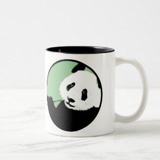 panda. seagreen circle. Two-Tone coffee mug