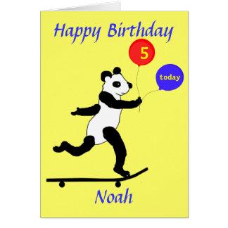 Panda Skateboarding Birthday cards add name age