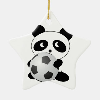 Panda soccer ceramic ornament