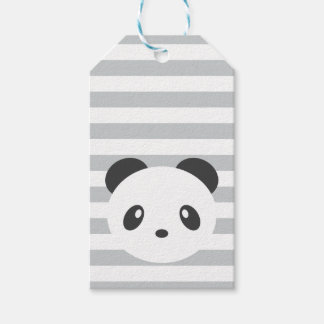 Panda striped gift tags
