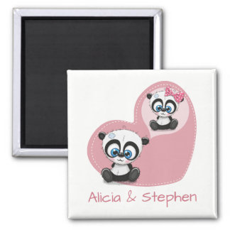 Panda Teddy Bear Wedding Engagement Bridal Shower Magnet