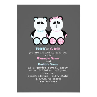 Panda Teddy Bears Gender Reveal Party Invitation