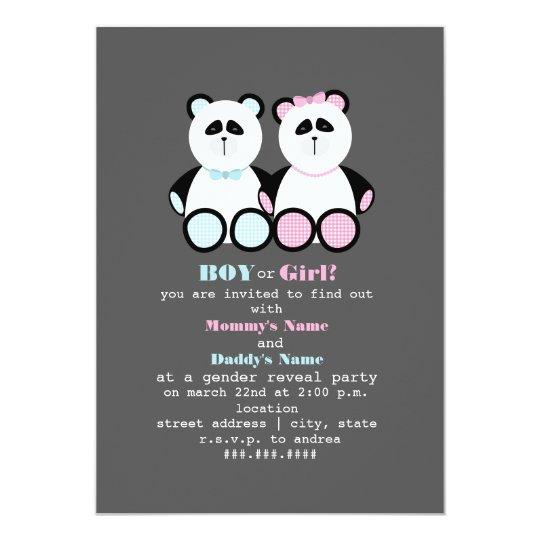 Panda Teddy Bears Gender Reveal Party Invitation