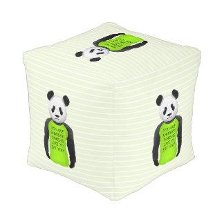 Panda Wearing A Funny Foodie T-shirt Pouf