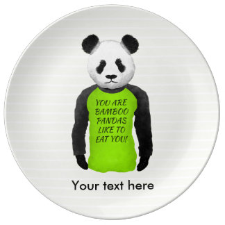 Panda Wearing A Funny T-shirt Porcelain Plates