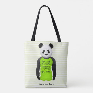 Panda Wearing A Funny T-shirt Tote Bag
