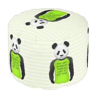 Panda Wearing A Funny Warning T-shirt Pouf