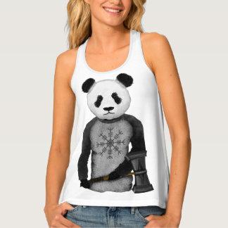 Panda With A Viking War Hammer Singlet