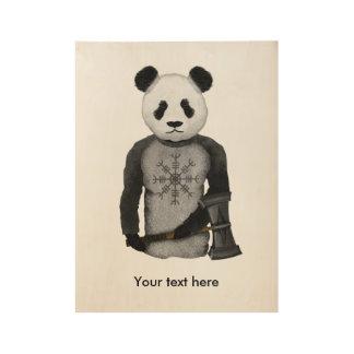 Panda With A Viking War Hammer Wood Poster