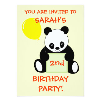 Panda With Ballon Customizable Name Age & More 14 Cm X 19 Cm Invitation Card