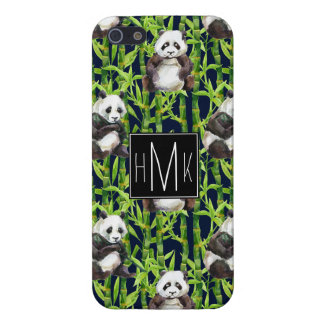 Panda With Bamboo Watercolor Pattern   Monogram iPhone 5/5S Cover
