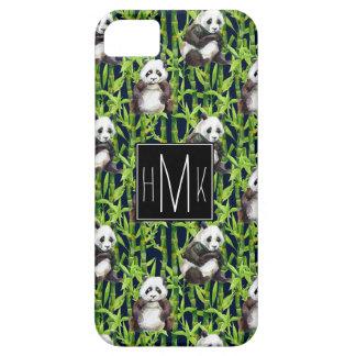 Panda With Bamboo Watercolor Pattern   Monogram iPhone 5 Cover