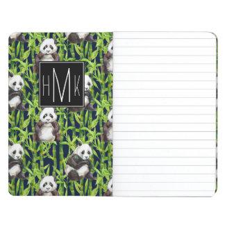Panda With Bamboo Watercolor Pattern | Monogram Journal