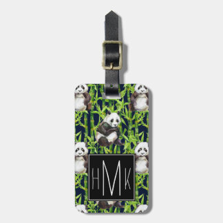Panda With Bamboo Watercolor Pattern | Monogram Luggage Tag