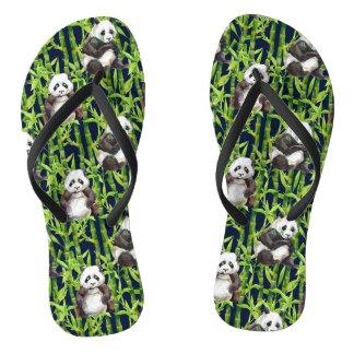 Panda With Bamboo Watercolor Pattern Thongs