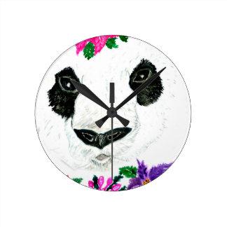 Panda with Flowers Wall Clock