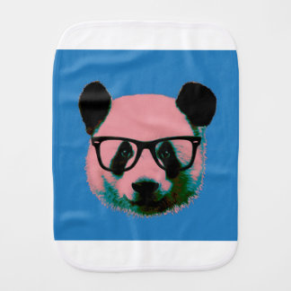 Panda with glasses in blue burp cloth