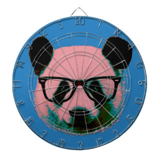 Panda with glasses in blue dartboard