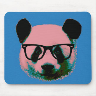 Panda with glasses in blue mouse pad