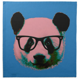 Panda with glasses in blue napkin