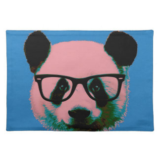 Panda with glasses in blue placemat