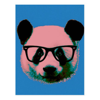 Panda with glasses in blue postcard