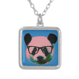 Panda with glasses in blue silver plated necklace