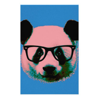 Panda with glasses in blue stationery