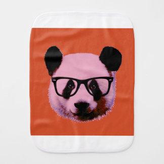 Panda with glasses in orange burp cloth
