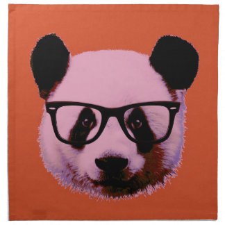 Panda with glasses in orange napkin