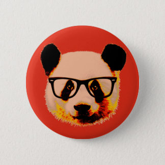 Panda with glasses in red 6 cm round badge