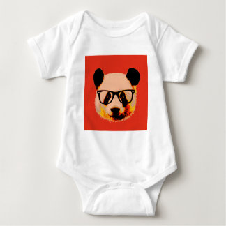 Panda with glasses in red baby bodysuit