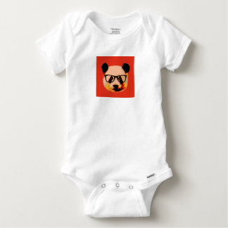 Panda with glasses in red baby onesie
