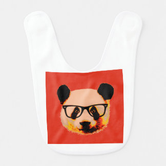 Panda with glasses in red bib