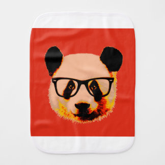 Panda with glasses in red burp cloth