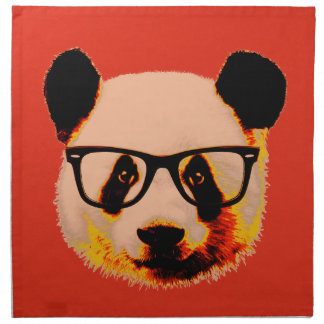 Panda with glasses in red napkin