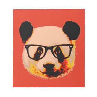 Panda with glasses in red notepad