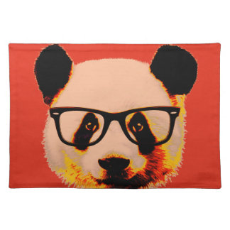Panda with glasses in red placemat