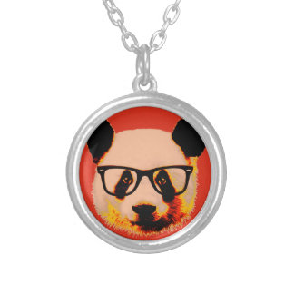 Panda with glasses in red silver plated necklace