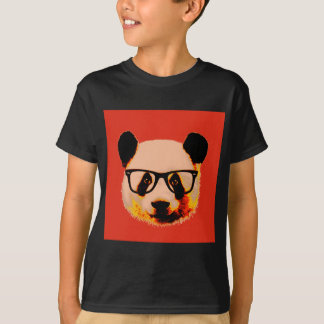 Panda with glasses in red T-Shirt