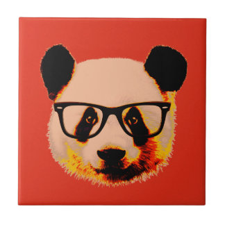 Panda with glasses in red tile