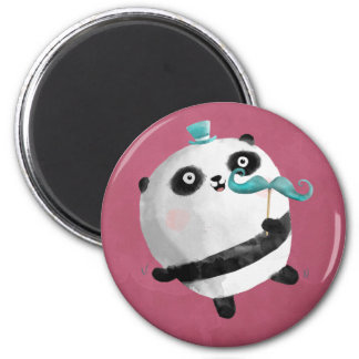Panda with Mustaches 6 Cm Round Magnet