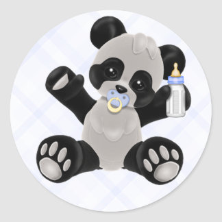 Panda with Pacifier Blue Baby Boy Classic Round Sticker