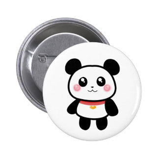 Panda With Red Collar Button Pin