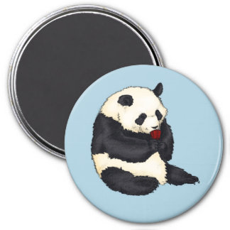 Panda with red tea cup magnet