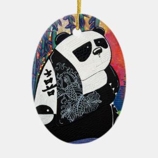 Panda Zen Master Ceramic Oval Decoration