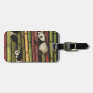 Pandas Climbing Bamboo Luggage Tag