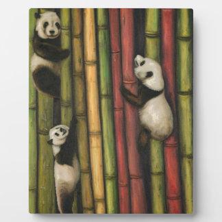 Pandas Climbing Bamboo Plaque