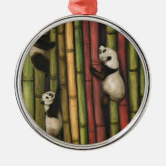 Pandas Climbing Bamboo Silver-Colored Round Decoration