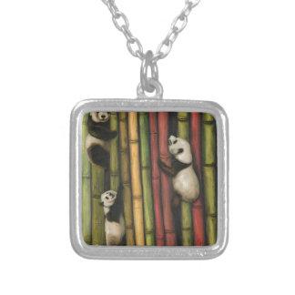 Pandas Climbing Bamboo Silver Plated Necklace
